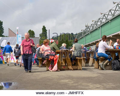 Groups of people and families eating out in the Royal Welsh show 2017 in Builth Wells Wales UK - Stock Photo