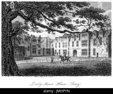 An engraving of Losely Manor House, Surry (Loseley Park, Surrey) scanned at high resolution from a book printed - Stock Photo