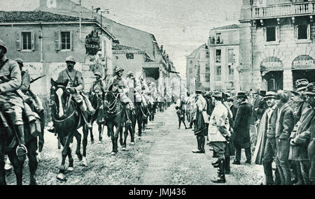 French Cavalry arriving in Italy, 1917 - Stock Photo