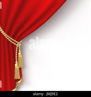 Red curtain on the  white background. Clipping Mask. Mesh. - Stock Photo