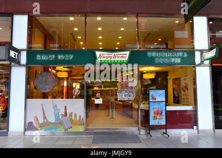 Taiwan Krispy Kreme donut shop made not far from the Taipei 101 building, Taiwan. Super delicious donuts. Was 1st - Stock Photo
