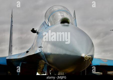 Ukrainian Air Force Su-27 Flanker on static display at the Royal International Air Tattoo 2017 - Stock Photo
