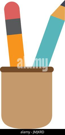 cup with writing utensils pencil in flat design style - Stock Photo