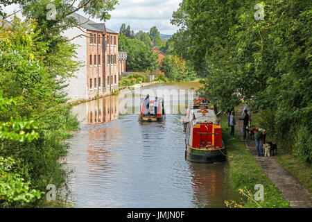 A barge or narrowboat near to Congleton Wharf on the Macclesfield Canal, Cheshire, England, UK - Stock Photo