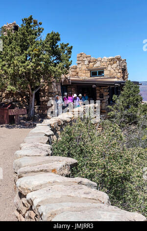 Lookout Studio or  The Lookout,  South Rim of the Grand Canyon,   Arizona, USA - Stock Photo