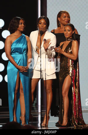 2017 BET Awards_Show  Featuring: Tiffany Haddish, Regina Hall, Queen Latifah, Jada Pinkett Smith Where: Los Angeles, - Stock Photo