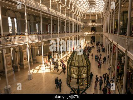 View of Victorian Grand Gallery, National Museum of Scotland, Chambers Street, Edinburgh, Scotland, UK, with summer - Stock Photo