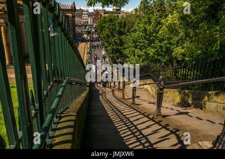 Looking down Playfair Steps and iron railings to Scottish National Gallery on The Mound, Edinburgh, Scotland, UK, - Stock Photo