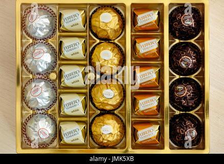 Paphos, Cyprus - November 20, 2016 Box of Ferrero candies. - Stock Photo