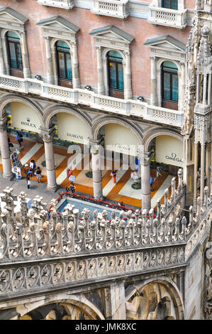 Milan, Italy - June, 27, 2016: Aerial view of shops in Milan as seen from the famous Dome of Milan in Italy - Stock Photo