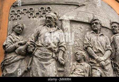 East side bas-relief panel on memorial statue of Robert Burns, Leith, Edinburgh, Scotland, UK, by Sculptor D W Stevenson, - Stock Photo
