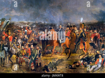 The Battle of Waterloo by Jan Willem Pieneman (1779-1853), oil on canvas, 1824. The painting shows the Duke of Wellington, - Stock Photo