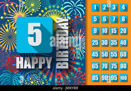 Happy Birthday background or card with colorful fireworks and set of numbers. - Stock Photo