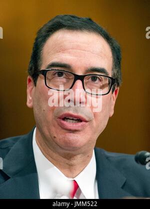 Washington DC, USA. 26th July, 2017. United States Secretary of the Treasury Steven Mnuchin testifies before the - Stock Photo