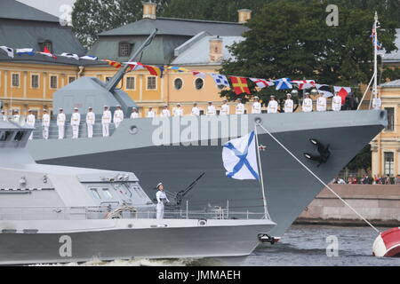 St Petersburg, Russia. 28th July, 2017. A rehearsal of the upcoming Russian Navy Day military parade in the Neva - Stock Photo