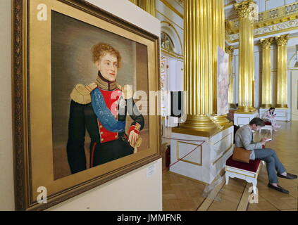 St Petersburg, Russia. 28th July, 2017. A wool and silk tapesty portrait of Grand Duke Nikolai Pavlovich Romanov - Stock Photo