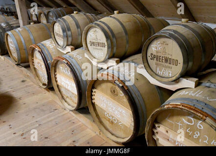 Schlepzig, Germany. 26th July, 2017. Barrels are stored at the storage of the Spreewood Distillers in Schlepzig, - Stock Photo