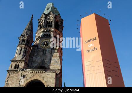 Kaiser-Wilhelm-GedŠchtnis- Church, wrapped Clock tower at the  KurfŸrstendamm street,  Breitscheidplatz, Berlin, - Stock Photo
