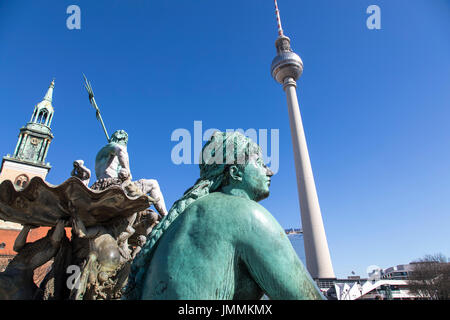 Berlin, Germany, Alexander Square, downtown, Mitte district, Berlin TV tower, Neptune fountain, - Stock Photo