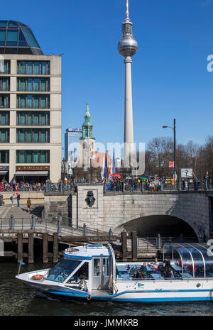 Berlin, Germany, Alexander Square, downtown, Mitte district, Berlin TV tower, Radisson Blu Hotel, river Spree, sightseeing - Stock Photo