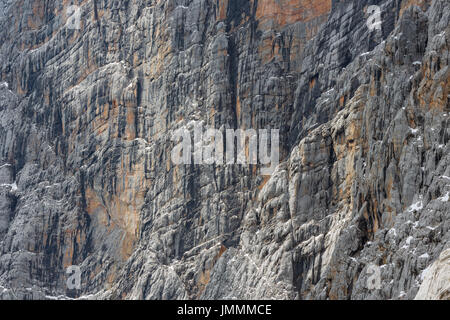 View at a vertical mountainside of Austrian Alps near Dachstein - Stock Photo
