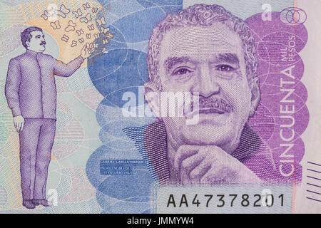 Nobel Prize Gabriel Garcia Marquez on the Fifty Thousand Colombian Pesos Bill - Stock Photo
