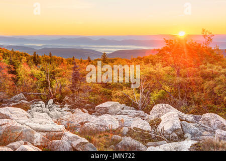 Bear rocks sunrise during autumn with rocky landscape in Dolly Sods, West Virginia - Stock Photo