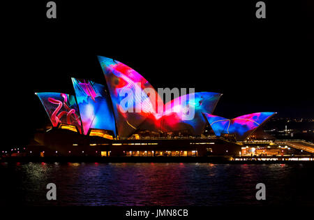 Sydney, 7th June, 2017.Vivid light festival, an annual   public event where the opera house is illuminated in the - Stock Photo