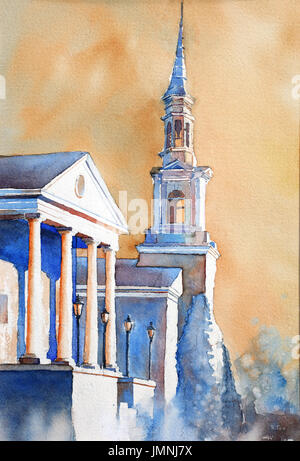 Watercolor painting of First Baptist Church on Academy Street- Cary, North Carolina