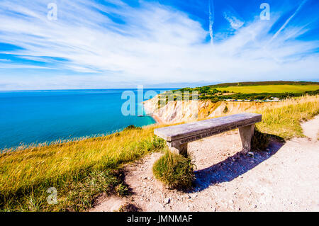 England, Isle of Wight, Alum Bay, View towards the cliffs from The Needles - Stock Photo