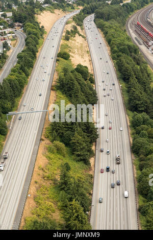 aerial view of cars on I-5 Interstate Highway near Boeing Field, Seattle, Washington State, USA - Stock Photo