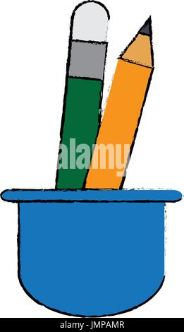 cup with writing utensils pen pencil in flat design style - Stock Photo