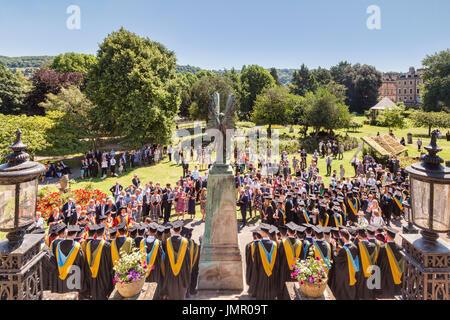 5 July 2017: Bath, Somerset, England, UK - Graduation Day for Bath University students, team photos being taken - Stock Photo