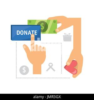 cash money donation support to charity of the people - Stock Photo