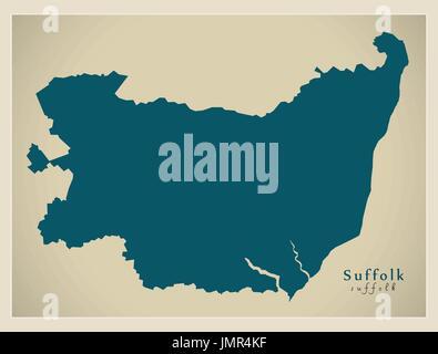 Modern Map - Suffolk county England UK illustration - Stock Photo