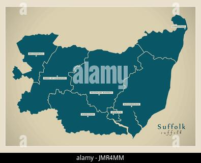 Modern Map - Suffolk county with cities and districts England UK illustration - Stock Photo