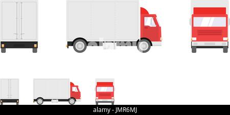 Truck illustration. Side, front, back views of transport truck isolated on white background. Pixel perfect, modern - Stock Photo