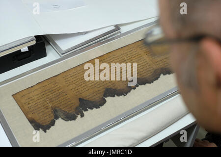 A man inspects a fragment of Dead Sea Psalms scroll written in Hebrew found in Qumran caves in the preservation - Stock Photo