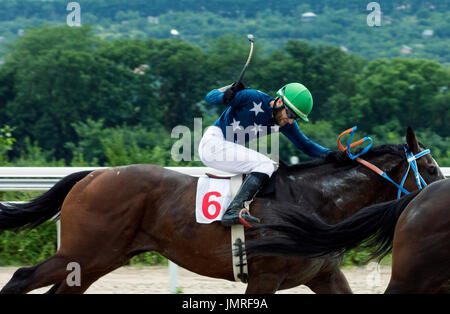 PYATIGORSK,RUSSIA - JULY 23,2017: Horse race for the traditional prize of  Big Bolshoi Summer- the oldest and the - Stock Photo