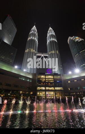 KLCC lake symphony water fountain show, Kuala Lumpur, Malaysia - Stock Photo