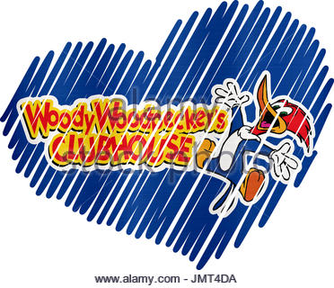 Lined Heart woody woodpeckers metallic illustration - Stock Photo
