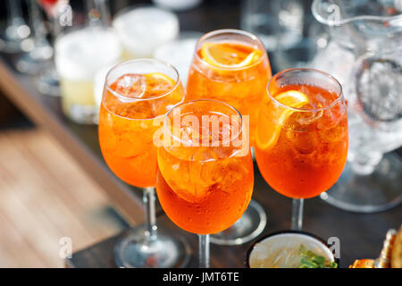 Aperol spritz cocktail in misted glass, selective focus - Stock Photo