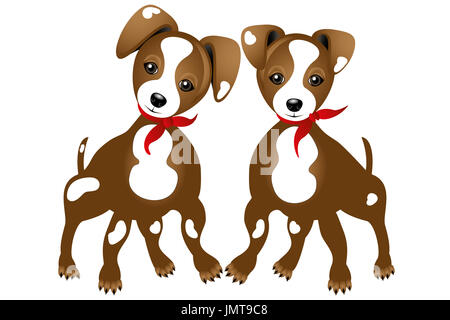 Illustration of two true friends - Jack Russell - isolated on white background without text - Stock Photo