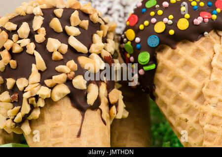 tasty chocolate ice cream closeup - Stock Photo