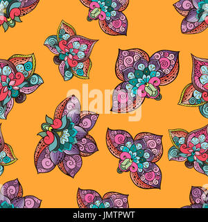 Beautiful stylized floral seamless pattern for your business. Fantazy flowers on bright yellow background - Stock Photo