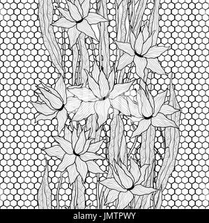 Seamless floral pattern. Royal lilies flowers with stylized doodle leaves on lattice lace. Black and white graphics. - Stock Photo