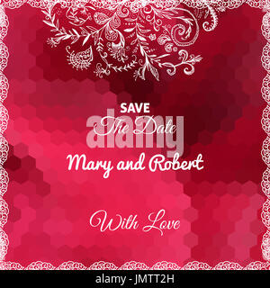 Wedding invitation card with doodle ornament on geometric red background - Stock Photo