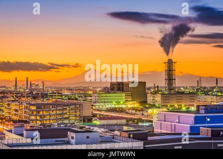 Kawasaki, Japan factories and Mt. Fuji. - Stock Photo