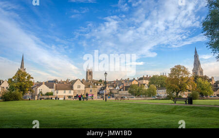 Picturesque views of the historic Lincolnshire town of Stamford taken from the Town Meadows featuring some of it's many church spires.