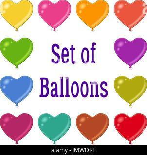 Holiday Heart Shaped Balloons Set - Stock Photo